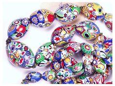 Vintage Italian Murano Venetian Millefiori Glass Bead Necklace