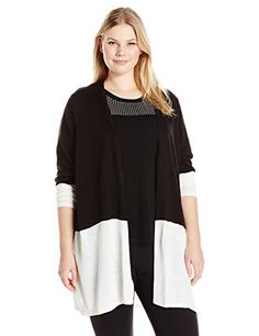 Calvin Klein Women's Plus Size Colorblocked Cardigan, Bla-$89.50
