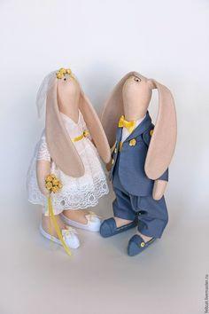Зайцы свадебные серый/желтый подарок на свадьбу - заяц тильда, зайцы тильда, зайцы свадебные