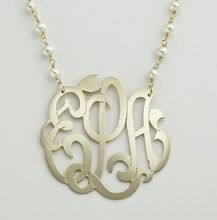 See our beautiful gold Monogram necklace with pearl chain is gorgeous and custom made for you, with your initials, this is the hottest trend in personalized jewelry.