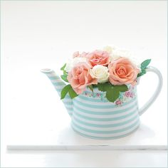 Aqua stripes! Want my own catmint and roses in this.--GreenGate Stoneware Teapot CandyMint