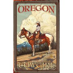 Cowgirl on Horse Wood Sign