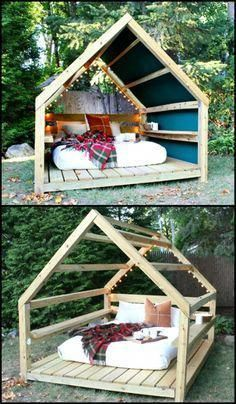 Unwind in your backyard with this cozy DIY outdoor cabana lounge! Unwind in your backyard with this cozy DIY outdoor cabana lounge! Outdoor Cabana, Outdoor Forts, Outdoor Lounge, Outdoor Decor, Backyard Cabana, Outdoor Play, Outdoor Living, Outdoor Couch, Outdoor Landscaping