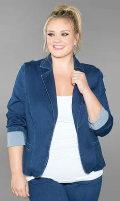 a chic, plus size denim blazer? with a stretch for a perfect fit