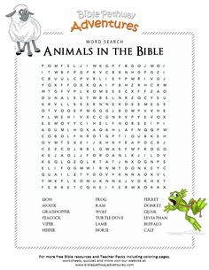 Bible Word Search: Animals in the Bible