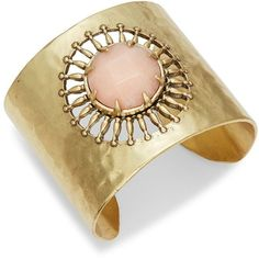 Lucky Brand Killing Me Softly Blush Jade Sunburst Statement Cuff... ($55) ❤ liked on Polyvore featuring jewelry, bracelets, gold, jade jewellery, lucky brand jewelry, jade jewelry, cuff bangle and jade bangle