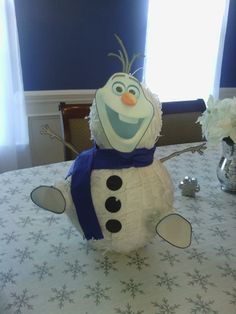 DIY Olaf piñata...I couldn't find a Frozen piñata so I made one from a snowman piñata I found. :)