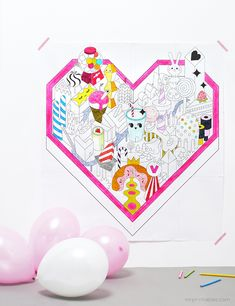 Giant Candy Land Valentine Coloring Page