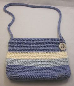 Womens The SAK Crochet Purse Blue Cream Stripe Bag Zipper Small Mini 8x6 Pocket #TheSak #ShoulderBag