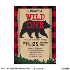 Boy First Birthday, 1st Birthday Parties, Birthday Celebrations, Theme Parties, Custom Invitations, Invite, Wild One Birthday Invitations, Bear Party