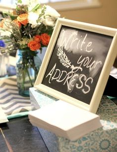 cute idea for baby shower... have everyone write their address to save the new mom time later!