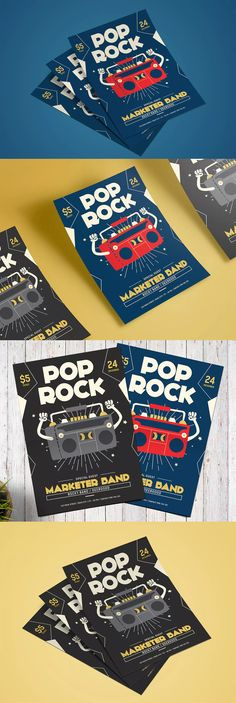 Rock And Roll All Night Flyer Template Ai Psd A4 Flyer Design