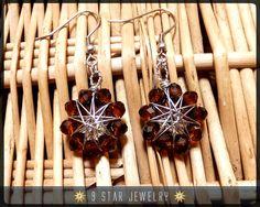 Radiant Star Baha'i 9 Star Crystal Wire-wrapped Earrings by 9StarJewelry #bahai #bahaijewelry #9starjewelry #wirewrappedstar #wirewrappedjewelry #9pointedstar