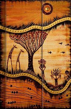 Präsent #Notizbuch Motiv AfricanArt - #Landschaft