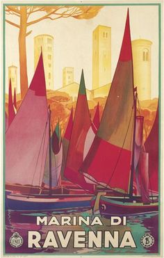 A 1931 travel posted of Marina di Ravenna (Italy). I love the shapes and colours.