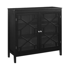 Fetti Black Large Cabinet - Linon sacrifice style when adding storage space to your home? This lovely cabinet offers a clean-lined design in a versatile solid black hue. The cabinet front features glass with a pane overlay and sleek silver Glass Panel Door, Glass Panels, Glass Doors, Door Storage, Storage Cabinets, Storage Shelves, Garage Storage, Storage Rack, Shelving