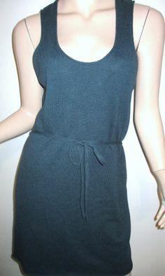 RHYS DWFEN Cotton Linen Forest Green Knit Rolled Edges Waist Tie Shift Dress L