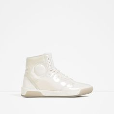 Image 1 of WHITE LAMINATED HIGH-TOP SNEAKERS from Zara