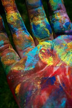 Perfect to do with baby's hand held in mine. Perhaps hers in white and mine in many colors- could even grip hers and leave colored print on white. hands of an artist