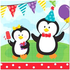 You can't have a penguin party without these cool penguin napkins! Include these Penguin Party Luncheon Napkins in your party supplies to make cleaning dirty fa Penguin Birthday, Penguin Party, Party Kit, Party Shop, Pinguin Illustration, Penguin Cupcakes, 1st Birthday Party Supplies, 2nd Birthday, Birthday Ideas