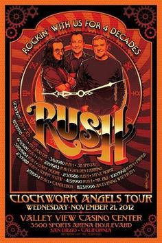 Rush concert posters, Clockwork Angels tour, San Diego. Hey Widespread Panic when ya'all gunna bust out some RUSH covers!?