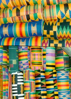 Africa | Kente weaving is a traditional craft among the Ashanti people of Ghana. A kente cloths is sewn together from many narrow (about 10 centimetres (3.9 in) wide) kente stripes. This image shows different patterns of typical Ashanti Kente stripes.