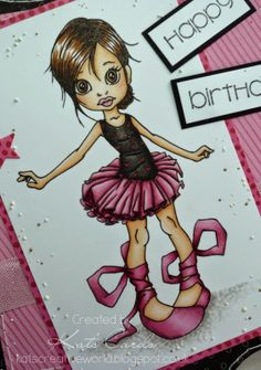 Kat's Cards: Saturated Canary ~Copic colours; Skin: E0000/000/50/51/21 & R30 Hair: E57/59/49 Eyes: E55/57 Lips: R30/32 Tutu / shoes: R81/83/56 Leotard: W7/9/100 Ground: W0/1/2/3