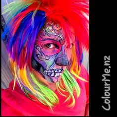 Rainbow Skull  Face-painting by www.colourme.nz