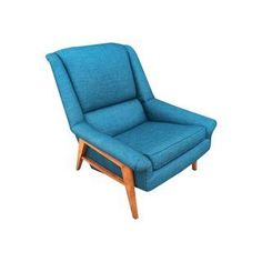 A cool Mid-Century Modern teak lounge chair in a standout color.
