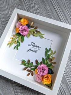 Items similar to Bloom Where You Are Planted Shadowbox on Etsy 3d Quilling, Quilling Paper Craft, Quilling Patterns, Quilling Designs, Flower Shadow Box, Flower Frame, Paper Flowers Craft, Flower Crafts, Fabric Flowers