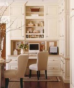 Desk area next to kitchen.