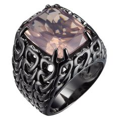 """Plukka Rose Quartz """"""""Woven Chain"""""""" Ring ($300) ❤ liked on Polyvore featuring jewelry, rings, rose quartz ring, woven jewelry, rose quartz jewelry, chains jewelry and braided ring"""