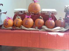 Fall baby shower decor. Painted pumpkins.