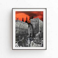 Red Sky print, Suerrealism, Printable art, Digital print, Instant download, Red print, 3 JPG