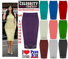 Womens Floral Lace Pencil Midi Skirt Ladies Bodycon Tube Skirt Plus Sizes 8-22