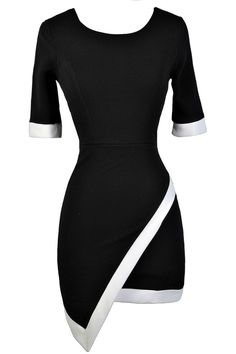 This bold fashion forward pencil dress comes in two color options for you to…