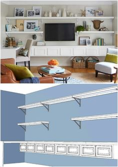 Build Minimalist Shelving Around Your Wall-Mounted TV.