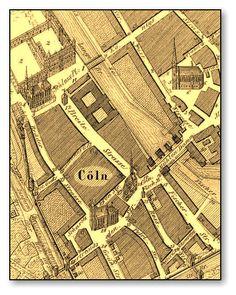 Berlin, Die Breitestrasse im 17.Jahrhundert (1640) .Links oben Dominikanerkirche und Schloss.