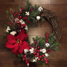 How to make 40+ red Christmas decor and crafts. Rustic Grapevine and Raw Cotton Wreath