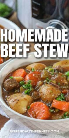 This Instant Pot beef stew recipe is so easy and so delicious. We love making this on busy weeknights! #spendwithpennies #beefstew #instantpotbeefstew #instantpot #pressurecooker #easystew Slow Cook Beef Stew, Pressure Cooker Beef Stew, Easy Beef Stew, Homemade Beef Stew, Instant Pot Pressure Cooker, Pressure Cooker Recipes, Slow Cooker, Instant Pot Beef Stew Recipe, Instant Pot Dinner Recipes