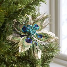 Peacock Feather Flower Clip Ornament   Pier 1 Imports