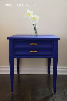 Hekman Mid Century End Table in General Finishes Klein Blue Decor, Furniture Diy, End Tables, Hekman, Painted Furniture, Refinishing Furniture, Furniture Inspiration, General Finishes Milk Paint, Blue Furniture Inspiration