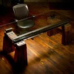 Slavaged railway tie furniture from Rail Yard Studios. Handmade in Nashville, Tennessee. Coming soon to FreshCrib.com.