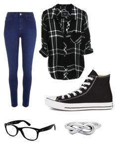 """Flannel Obsessed"" by porkchopnmyface ❤ liked on Polyvore featuring River Island, Converse and Ray-Ban"