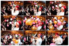 Stroke of midnight - black, white, silver and red balloons on the dance floor!