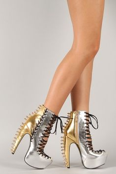 Privileged Kempton Two Tone Studded Spike Corset Lace Up Platform Bootie
