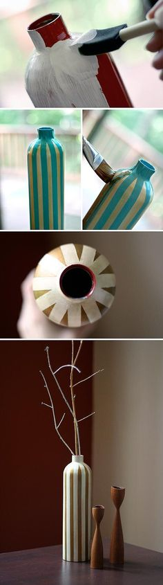 How to make a cute vase out of a water bottle!