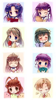 Clannad (made me cry my eyes out) (Characters from top left to right: Kotomi Ichinose, Kyou Fujibayashi, Tomoyo Sakagami, Fuko Ibuki, Yukine Miyazawa, Ryou Fujibayashi, Nagisa Furukawa, Youhei Sunohara)