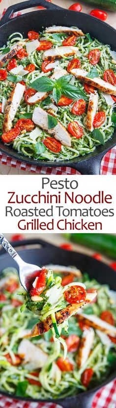 Pesto Zucchini Noodles with Roasted Tomatoes and Grilled Chicken #pesto