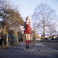 Girl in red skipping rope, 1970s by Walter Blum